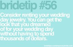 Bride Tips - Consider renting your wedding day jewelry | Contemporary Bride