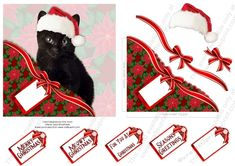 Christmas Black Cat Faux Corner Pocket by Vicki Avcin Cute little kitten with a Christmas touch. Quick easy cards to make up with a fabulous embossed look. Glue the tabs under the topper before putting the topper onto your card to give that extra bit of dimension.  Use the decoupagefor even more dimension.   All my designs are 100% digitally drawn or photographed by myself Vicki Avcin so no need t