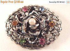 Pearl Pin Silver Metal Rose Brooch with by SpringJewelryThings