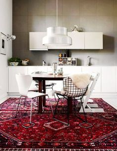 Vintage, Persian, Kilim and Turkish Rugs in the Kitchen (and Where to Shop Them)