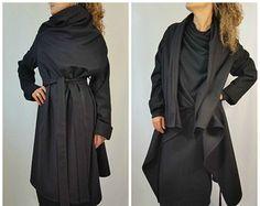 Grey Long Wool Coat Winter Cape Coat Cashmere by MDSewingAtelier