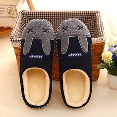 Dark Blue Rabbit Plush Slippers For Adult