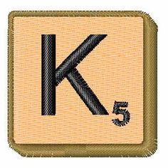 Concord Collections Embroidery Design: Scrabble Tile K 5 1.26 inches H x 1.28 inches W