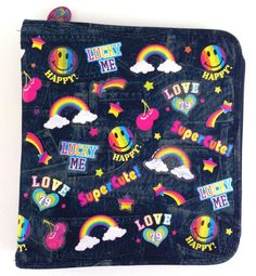 Lisa Frank Denim Blue Jean 3 Ring Binder Cloth Rainbow Lucky Me Sticker, Super Cool School Supply!