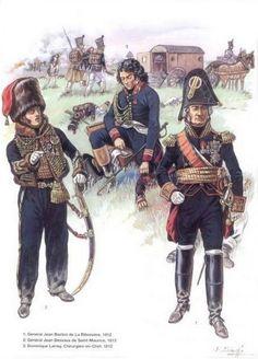 1-Général Jean Baston de La Riboisière 1812.  2-Général Jean Desvaux de Saint-Maurice 1813.  3-Dominique Jean Larrey, chirurgien en chef 1812