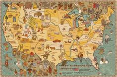 Atlas composed of 51 maps full of curiosities, presenting 6 continents and 42 selected countries, which will take you on a journey around the world. Map Projects, Maps For Kids, Pictorial Maps, United States Map, Atlas, Usa Tumblr, World Pictures, Le Far West, Map Design