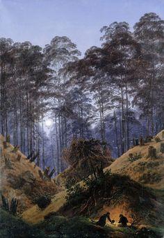Лес в лунном свете с людьми у костра. Каспар Давид Фридрих