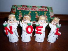 Vintage Christmas NOEL ANGEL Candle Holder Figurine by LilysPadToo