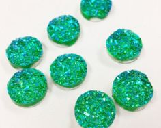 20 Resin Dome Seals Cabochon Round Green Glitter 12mm, 7540, 724 by vickysjewelrysupply. Explore more products on http://vickysjewelrysupply.etsy.com