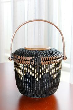 """Wave""  All Black Basket 6inch Round"