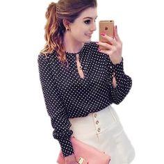 Women Chiffon Blouse Polka Dot Long Sleeve Shirt Women Tops Casual Hollow O-Neck Blusas Femininas Camisas Mujer Wholesale noJA23