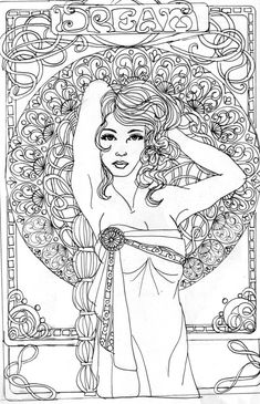 dream by kthart on DeviantArt Blank Coloring Pages, Adult Coloring Book Pages, Printable Coloring Pages, Coloring Sheets, Coloring Books, Free Adult Coloring, Fabric Painting, Colorful Pictures, Geisha
