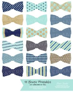 18 NAVY MINT and GOLD Bowties / Printable Party by HuesPrintables