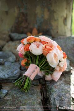 coral wedding bouquet, Wildflowers by Design. I like these and purple too. How will I decide?