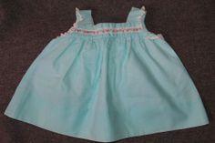 Vintage Baby Girl Summer Dress Light Aqua Blue w/ Pink Flowers White Lace Trim