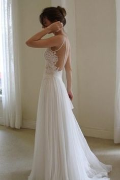 Wanda Borges Backless Silk Wedding Dress With Low Cut Back And