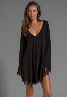 FOR LOVE & LEMONS Angelic Long Sleeve Mini Dress w/ Lace Trim in Black - For Love & Lemons $167