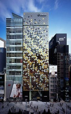 Yamaha Corporation (Ginza, Tokyo, Japan) by Nikken Sekkei. Cool mosaic façade.