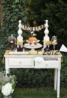 """Keys to Success"" dessert table - Anthropologie-inspired Graduation Party"