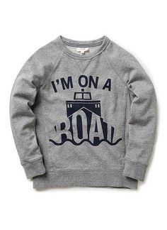 100% cotton french terry raglan sleeve sweat with front 'I'm on a boat' print and side rib panel