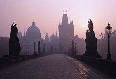 Charles Bridge , located in Prague, Czech Republic , is a famous pedestrian bridge crossing the Vltava river. Places To Travel, Places To See, Prague Charles Bridge, Daughter Of Smoke And Bone, Scenic Photography, Monument Valley, Travel Inspiration, Beautiful Places, Amazing Places