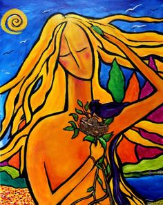 ARTFINDER: Nurture by Chaline Ouellet - Nurture by Chaline Ouellet. A young woman with long flowing yellow hair, holds a birds nest with two baby birds waiting to be fed by the mother bird a black ...