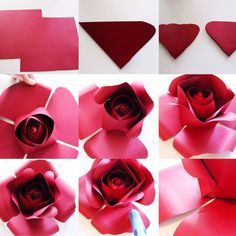 CONTINUED... If you finished the center (part 1-3), and you want to make a full flower, add 2 MORE papers. Cut the corners and trim the top. They should be larger than the center petals. Lastly, curl the corners and glue. Continued process. #paperflowers #paperflower #backdrop #paperrose #annnevilledesign #diy #tutorial #flowertutorial