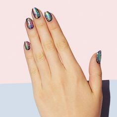 """5 Salons That Are Bringing Back Nail Art #refinery29  http://www.refinery29.com/nail-art-designs#slide-10  This design, dubbed """"the oil spill,"""" is the only kind of pollution we support...."""