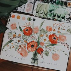"Tanja von Die Handletterei on Instagram: ""#floralbouquet #watercolorlove . . . #watercolorart #watercolorgreenery #watercolorautumn #handletteringaddict #monolinelettering…"""