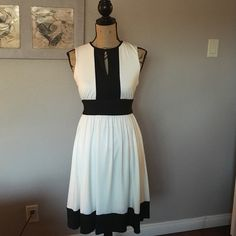 Black and White Alfani Dress Gorgeous, gently used black and white, sleeveless dress from Alfani Petite Collection! This dress is in excellent condition and is very fresh and comfortable to wear! There are no tears or stains on this dress! Just a quick disclaimer. The back zipper can be a bit hard to pull up in the middle but as long as I pressed it together it was not difficult. Please feel to ask any questions. Lovely dress!  Alfani Dresses