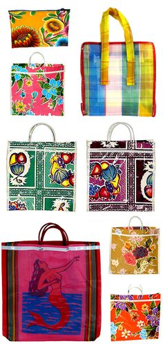 Mexican oilcloth bags are great alternatives for carrying your groceries, beach towels, or to just use as an everyday totebag. I love them because they are so rich in color and the patterns are wonderfully bold. My Bags, Purses And Bags, Magic Bag, Tribal Bags, Buch Design, Welcome Bags, Arte Popular, Basket Bag, Summer Bags