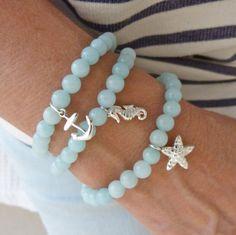 Nautical bracelet, cultured sea glass jewelry, anchor bracelet, beach bracelet, mermaid jewelry, coastal style bracelet