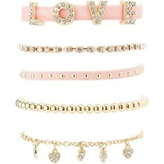 Charlotte Russe Embellished Love Layering Bracelets - 5 Pack (€5,66) ❤ liked on Polyvore featuring jewelry, bracelets, accessories, blushing bride, charm bracelet, bridal jewellery, rhinestone bridal jewelry, bridal jewelry and rhinestone jewelry
