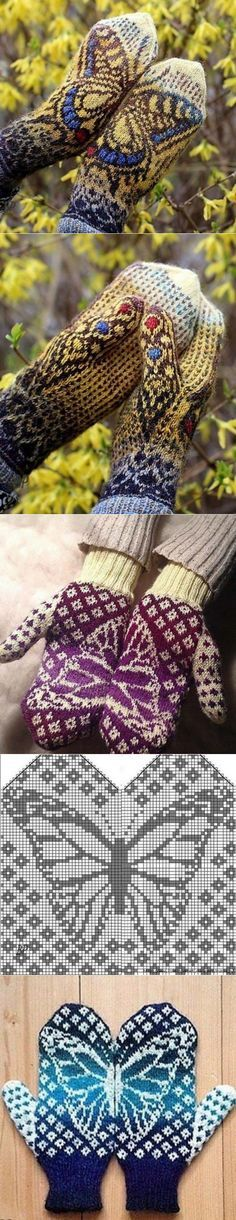 Mittens with a pattern a butterfly // Svetlana Urboniene Knitting Charts, Knitting Socks, Knitting Patterns, Knit Crochet, Crochet Hats, Wrist Warmers, Mitten Gloves, Yarn Crafts, Holiday Crafts