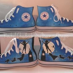 b3b2e6f81f7 Peter Pan hand painted Custom shoes Converse Size women 8 available!!