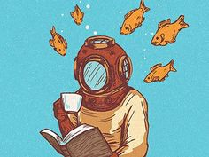 reading with the fishes (artist unknown)