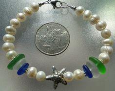 Beautiful sea glass and freshwater pearl bracelet with Karen Hill Tribe bead by HLSEAGLASS on Etsy