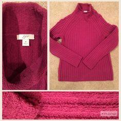 J.Jill chenille sweater, size medium. J.Jill chenille mock turtleneck sweater, size medium. Raspberry color. Super soft and comfy. Short waist. Worn only a few times. J. Jill Sweaters
