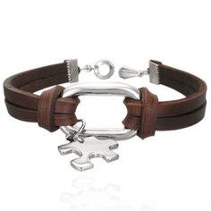 Autism Awareness Puzzle Piece Charm on Leather bracelet