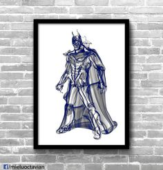 Batman smoke portrait wall art print ideal for any room in your home or office.  OctavianMielu