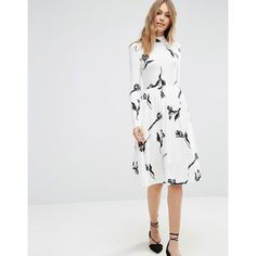 ASOS Midi Dress with High Neck in Cream Floral ($43) via Polyvore featuring dresses, white midi dress, asos dresses, fit and flare midi dress, floral fit-and-flare dresses and midi dress