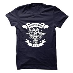 Cool Born to Ride Since 1958 Motorcycle T-Shirt T Shirt, Hoodie, Sweatshirt