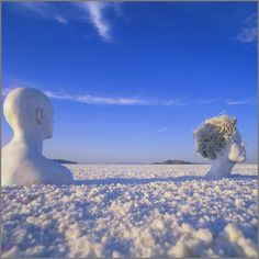 Apparently the guy from 'Powder' has a sister ;] Stunning photos of body painted figures in nature by Jean-Paul Bourdier