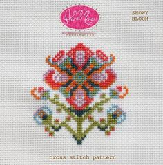 Showy Bloom by Anna Maria Horner Needleworks - Cross Stitch Pattern - Floral Cross Stitch - Counted Cross Stitch Pattern by Owlanddrum on Etsy
