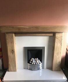 Hand Crafted Oak Beam Fire Surround, Rustic Made To Measure,Bespoke,Rustic,Custom made Oak Fire Surround, Fireplace Surrounds, Wooden Fireplace Surround, Fireplace Ideas, Fireplace Design, Dado Rail, Chimney Breast, French Oak, Back Plate