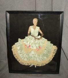 Vintage Antique ART DECO Ribbon Art Lady