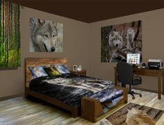 Wolf Wall Murals, let loose your inner animal. Checkout our Wolf designs at http://www.visionbedding.com/WallMurals/Wolf.php
