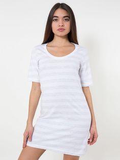 【ファインジャージーショートスリーブクルーネックTシャツドレス】American Apparel