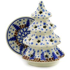 Polish Pottery 6-inch Christmas Tree Candle Holder | Boleslawiec Stoneware | Polmedia H8343D | Polmedia