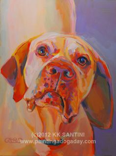 "pointer portrait of ""Rush"" by Kimberly Kelly Santini of Painting a Dog a Day (www.PaintingaDogaDay.com)"